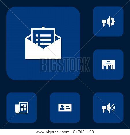 Collection Of Inbox, Loudspeaker, Id And Other Elements.  Set Of 6 Commercial Icons Set.