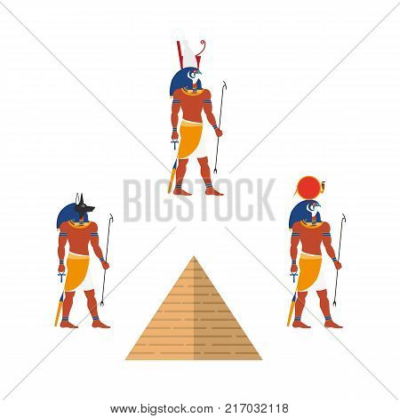 Set of Egypt symbols - pyramid and ancient gods, Ra, Anubis and Isis, flat vector illustration isolated on white background. Ra, Isis and Anubis gods and great pyramis, symbols of Egyptian culture