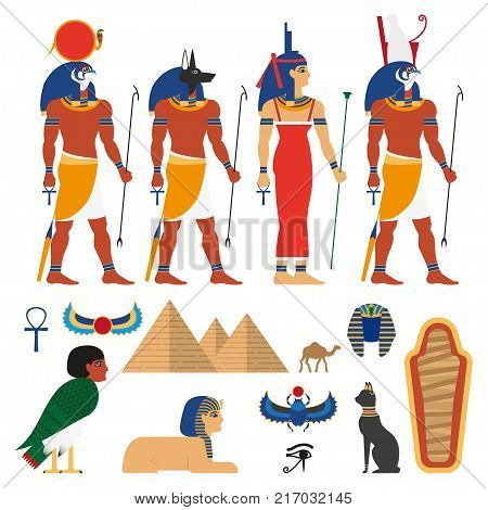 vector flat egypt gods, and sacred symbols set. Anubis - god with head of jackal or dog, Amon-Ra supreme god of sun, Horus god of sky, Isis, pyramid, sphinx, camel sarcophagus, scarab icon.