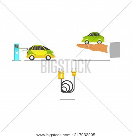Electric car charging at station and offered by hand, power cable, flat vector illustration isolated on white background. Plug-in electric vehicle, charging station, power cable, alternative fuel car