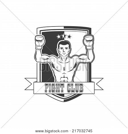 vector boxing club logo brand icon with muscular strong boxer man bare torso standing with hands in boxing gloves raised up smiling like winner black and white. Isolated illustration, white background