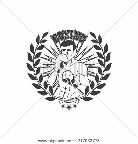 vector boxing club logo, brand icon with muscular strong handsome man bare torso and chest in boxing stand with box gloves black and white with laurel wreath. Isolated illustration on white background