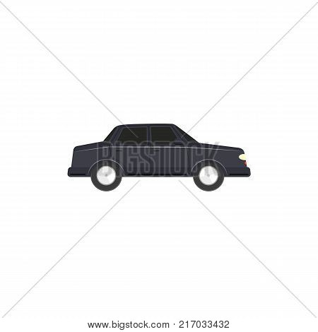 Flat style sedan car, automobile icon, side view vector illustration isolated on white background. Flat style car, automobile, motor vehicle decoration element