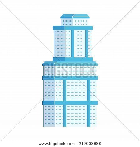 Skyscraper, business center, high rise office building, flat vector illustration isolated on white background. Flat sky scraper, business center, high rise building, urban cityscape element