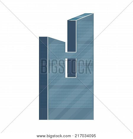 Modern skyscraper, business center, high rise office building with mirror glass facade, flat vector illustration isolated on white background. Flat modern mirrored skyscraper, business center