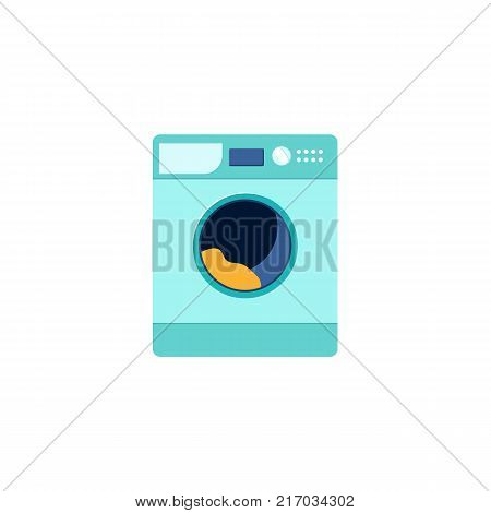 Front view picture of automatic household washer, washing machine, flat style vector illustration isolated on white background. Front view flat style washing machine, washer, household appliance