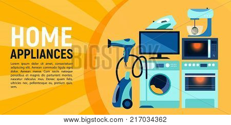 Horizontal banner layout design for shop, sale with flat pictures of home appliances, vector illustration. Sale, information, advertising banner design with flat home appliances and place for text