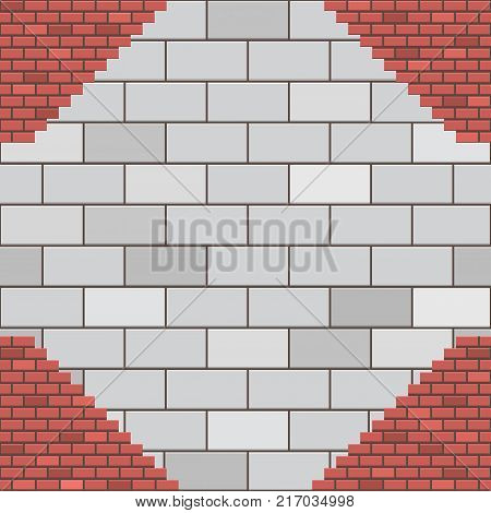 an illustration consisting of a pattern in the form of aerated concrete and a brick wall
