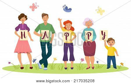 Family concept - parents and children holding boards, posters with HAPPY word letters, flat cartoon vector illustration isolated on white background. Family members holding letters of HAPPY word