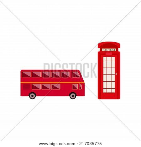 vector flat United kingdom, great britain symbols set. British red phone booth, double decker bus icon. Isolated illustration on a white background