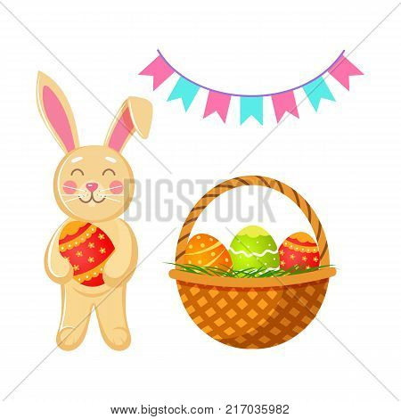 Set of Easter decoration elements - bunny, basket with painted eggs and colorful flags, cartoon vector illustration isolated on white background. Easter bunny, eggs in basket and flags