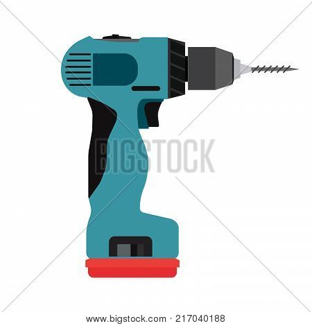 Drill icon cordless vector electric driver power tool. Construction screwdriver hand work drilling isolated repair