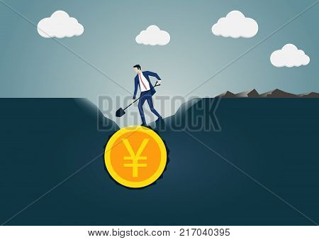 Vector illustration of business man digging and discovering Yen gold coin. Concept for search and find or business success