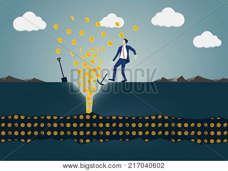 Vector illustration of business man discovering a vein of gold dollars. Concept of success and wealth