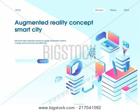 Augmented reality concept. Smart city technology. Landing page template. 3d isometric illustration.