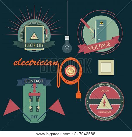 A set of logos associated with electrical equipment. Vector set is executed in a flat style.