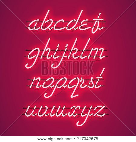 Glowing Red Neon Script Font with lowercase letters from A to Z with wires, tubes, brackets and holders. Shining and glowing neon effect. Vector illustration.