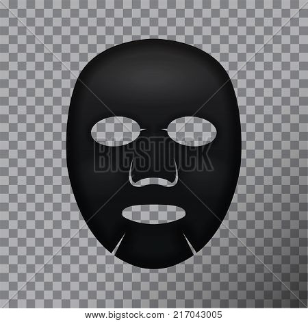 Black Facial Mask Cosmetics. Vector package design for face mask on transparent background for your design