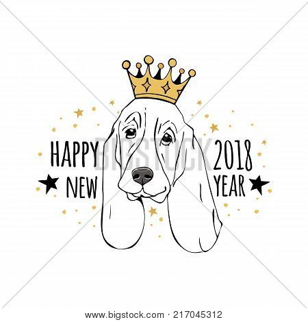 Vector drawn funny poster. Trendy cute basset hound or dachshund with a crown on his head and with the wish of a happy new year. Dog is symbol of Chinese New Year.