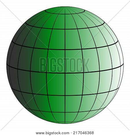 Globus 3D earth grid, the effect of illumination by the sun, vector green planet, model of the earth, the Meridian and parallel poster