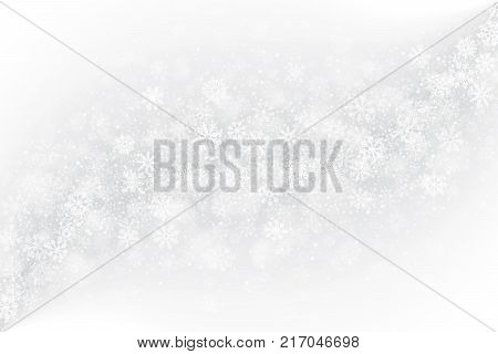 Frozen Window Glass Effect with Realistic Vector Snowflakes Overlay on Light Muted Silver Background. Merry Christmas, Xmas, Happy New Year, Noel, Yule Winter Season Holidays Abstract Art Illustration
