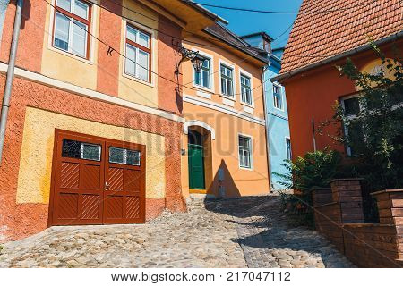 walking around the historic town Sighisoara. City in which was born Vlad Tepes Dracula
