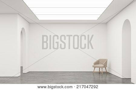 Empty white room modern space interior 3d rendering image.White room Many rooms are connected with arch shape door.There are poliished concrete floorwhite wall