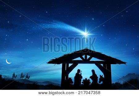 Nativity Scene With The Holy Family In Stable, 3d, illustration