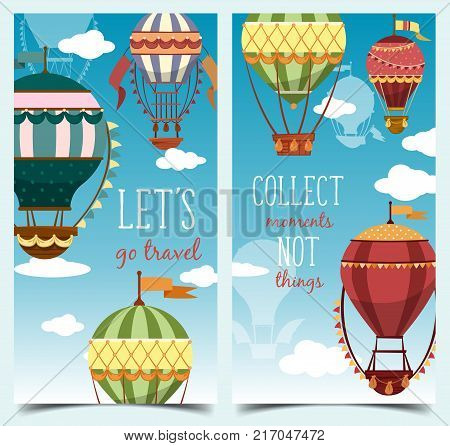 Vertical banner or flyer with hot air balloons for sport event or tourism entertainment event. Airship for journey and holiday leisure adventure, flight activity. Recreation, tourism, ballooning theme