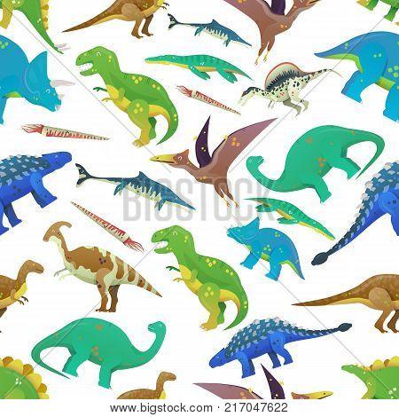 Seamless pattern with prehistoric ocean fish and jurassic dinosaurs or dino. Brachiosaurus and brachiosauridae, saichania and tyrannosaurus rex, t-rex and pterodactyl. Zoology and history theme