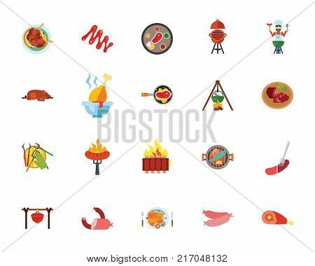 Food icon set. Can be used for topics like meat and fish meal, cooking, picnic, grilled food, junk food