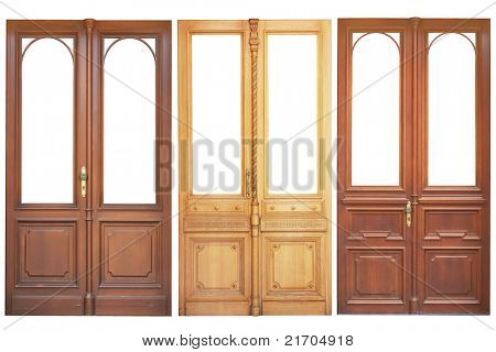 Set of wooden doors isolated on white background