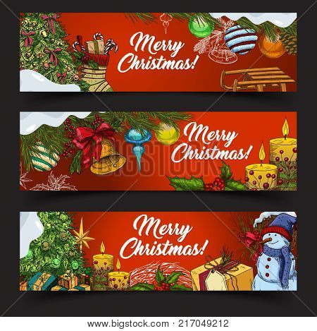 Set of 2018 new year posters or merry christmas greetings card. Gifts in boxes and snowman, fir-tree and candle, sledge and snow at congratulation banner or holiday sign. Eve and winter festive theme