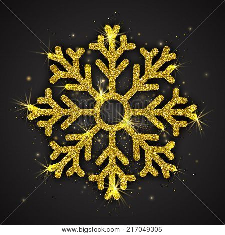 Vector Golden Sparkling Snowflake with Shimmer Glitter Texture Isolated on Dark Gray Background. Merry Christmas, Xmas, Happy New Year, Noel, Yule Holidays Abstract Symbol Decoration. 3D Illustration