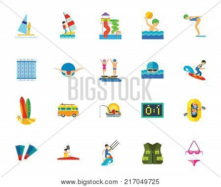 Water sport icon set. Can be used for topics like sport, healthy lifestyle, hobby, leisure, recreation, competition