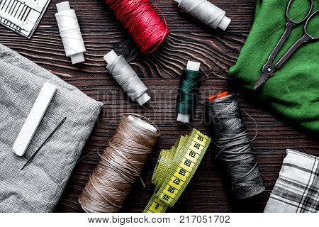 tools for sewing for hobby set on wooden table background top view pattern