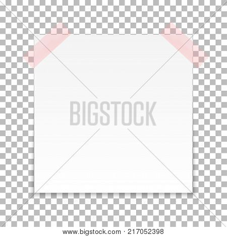 White sheet of note paper with adhesive tape on a transparent background. Vector illustration