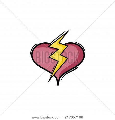 heart with thunder symbol lobe design vector illustration