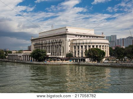 MANILA, PHILIPPINES - APRIL 1 2016. Old post Office biilding in Manila on Apr 1, 2016, Philippines. Construction of this building started in 1936 and was finished before the outbreak of war in 1941