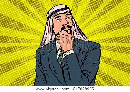 Elderly Arab businessman, thinker pose. Pop art retro vector illustration