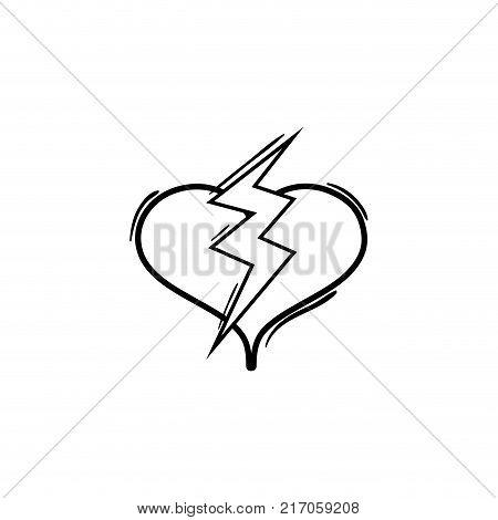 line heart with thunder symbol lobe design vector illustration