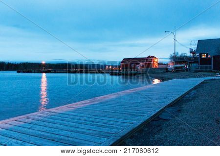Baddeck harbor at night, Nova Scotia, Canada