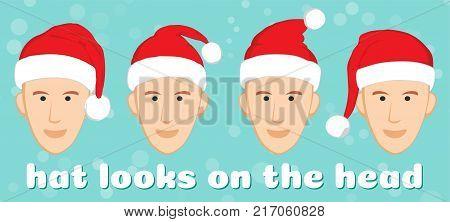 Santa hat set on the characters head. Vector Santa red hat. Flat vector illustration Santa hat. Christmas santa claus red cartoon hats isolated vector set.