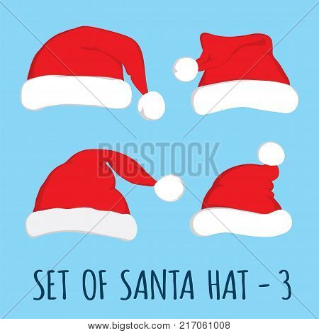 Santa hat set on blue background. Vector Santa red hat. Flat vector illustration Santa hat. Red Santa hat isolated on blue.