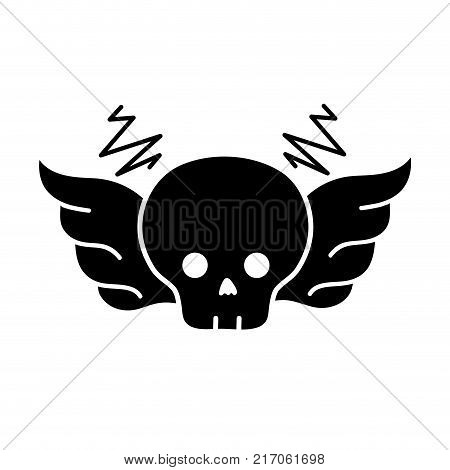 contour skull with wings rock art symbol vector illustration