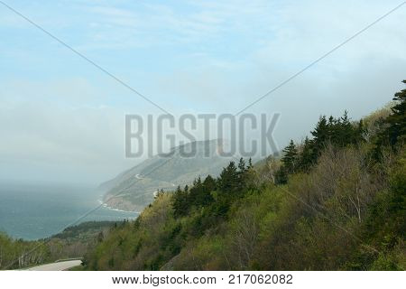 Cabot Trail along the coastline in Nova Scotia
