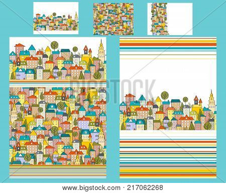 Cute teenager or kids bedding set with doodle city houses. Two duvet and three pillows. Happy bright palette. Vector illustration. All templates are seamless.