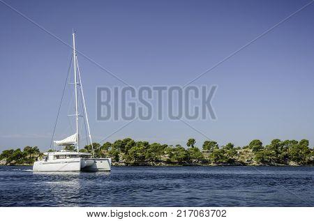 Catamaran sailing on the Sibenik bay Croatia