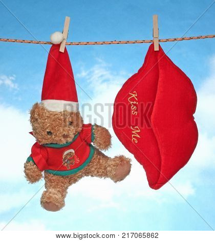 happy Merry X mas Hanging christmas decoration hart and doll.
