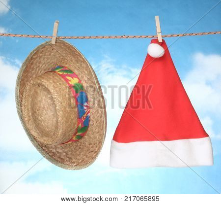 happy Merry X mas Hanging christmas decoration Christmas hat and Summer straw hat.
